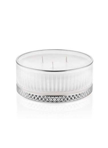 The Mia Cam İçi Dolu Mumluk - Beyaz Gümüş 5 X 13 Cm Renkli